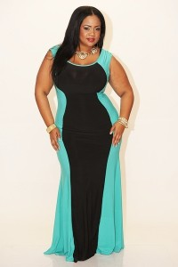 mint and black body con dress