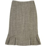 Pleated hem boucle skirt